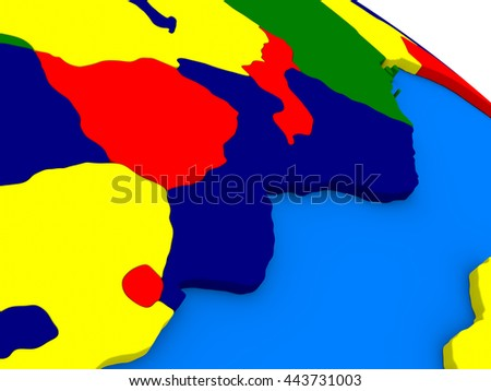 Mozambique and Zimbabwe on colorful political globe. 3D illustration