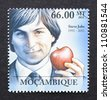 MOZAMBIQUE -Â?Â? CIRCA 2011: a postage stamp printed in Mozambique showing an image of Steve Jobs, circa 2011. - stock photo