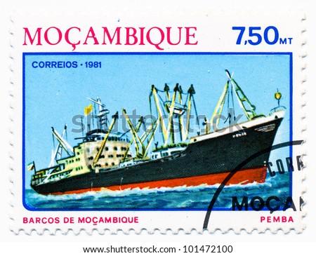 MOZAMBIQUE - CIRCA 1981: A stamp printed in Mozambique, shows a Ocean freighter Pemba, series,  circa 1981 - stock photo