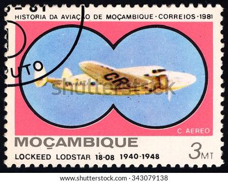 MOZAMBIQUE - CIRCA 1981: A stamp printed in Mozambique shows Lockeed Lodstar 18-08, 1940-1948, circa 1981 - stock photo