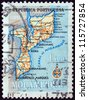 MOZAMBIQUE - CIRCA 1954: A stamp printed in Mozambique shows map of Mozambique, circa 1954. - stock photo