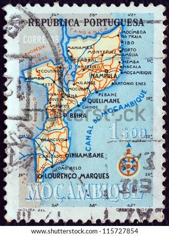 MOZAMBIQUE - CIRCA 1954: A stamp printed in Mozambique shows map of Mozambique, circa 1954. - stock photo