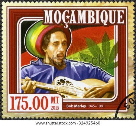 MOZAMBIQUE - CIRCA 2015: A stamp printed in Mozambique shows portrait of Robert Nesta Bob Marley (1945-1981), circa 2015 - stock photo