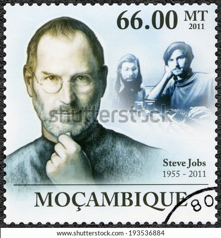 MOZAMBIQUE - CIRCA 2011: A stamp printed in Mozambique shows portrait of Steve Jobs (1955-2011), circa 2011 - stock photo