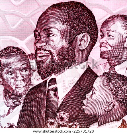 MOZAMBIQUE - CIRCA 1989: Samora Machel (1933-1986) on 1000 Meticais 1989 Banknote from Mozambique. Mozambican military commander, revolutionary socialist leader and President of Mozambique. - stock photo