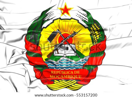 Mozambique Coat of Arms. 3D Illustration.