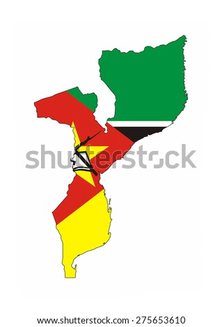 mozambique country flag map shape national symbol - stock photo