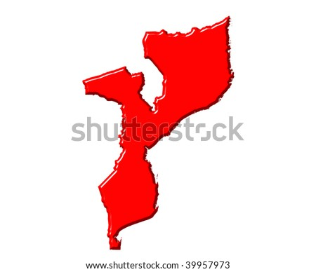 Mozambique 3d map with national color