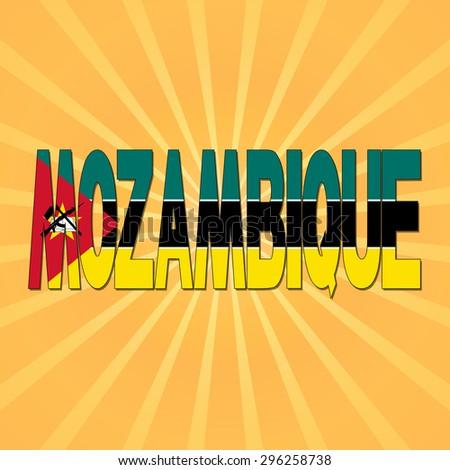 Mozambique flag text with sunburst illustration - stock photo
