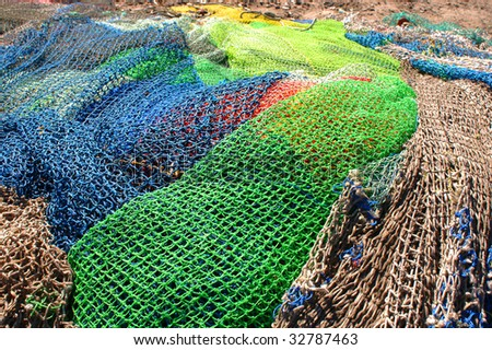 Mozambique, nets of fishermen colored