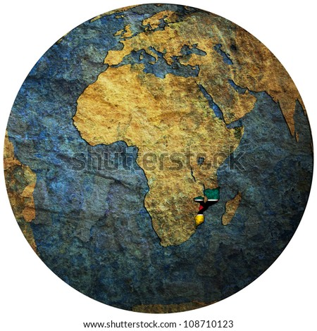 mozambique territory with flag on map of globe isolated over white