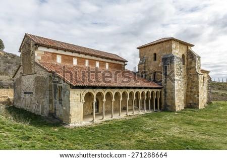 Mozarabic monastery of San Miguel de Escalada in Leon, Spain - stock photo