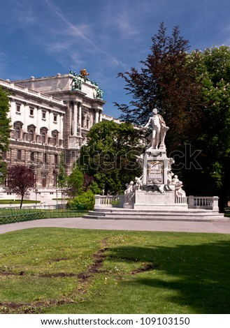 Mozart statue in the Burggarten park of Hofburg Imperial Palace Gardens, Vienna