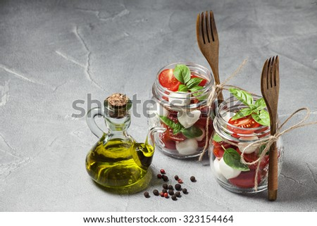 Mozzarella and tomato salad - stock photo