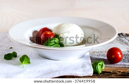 Mozzarella cheese, basil and tomato - stock photo