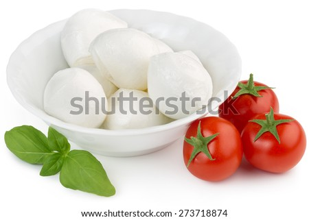 mozzarella cheese, cherry tomatoes and basil leaf - stock photo