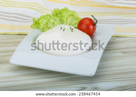Mozzarella cheese in the bowl on the wooden background - stock photo