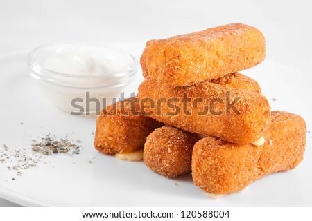 Mozzarella cheese sticks - stock photo