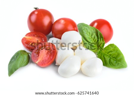 Mozzarella cheese with basil and cherry tomatoes isolated on white background