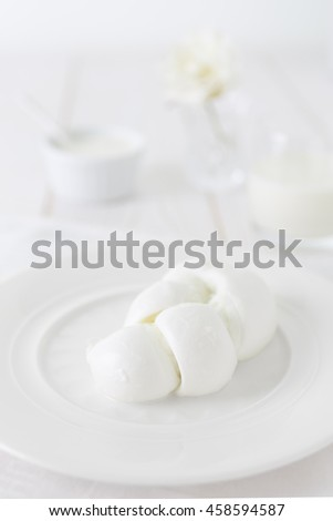 mozzarella of buffalo milk in the form of braids on a white plate. Photo dairy product in a light key. still life in white. Traditional Italian product