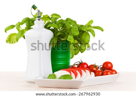 Mozzarella salad with fresh basil, tomatoes and olive oil - stock photo