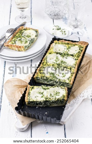 Mozzarella Spinach Tarte - stock photo