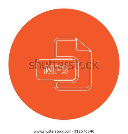 MP3 audio file extension. Flat white symbol in the orange circle. Outline illustration icon - stock photo