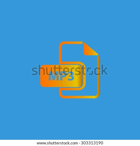MP3 audio file extension. Simple flat icon on blue background - stock photo