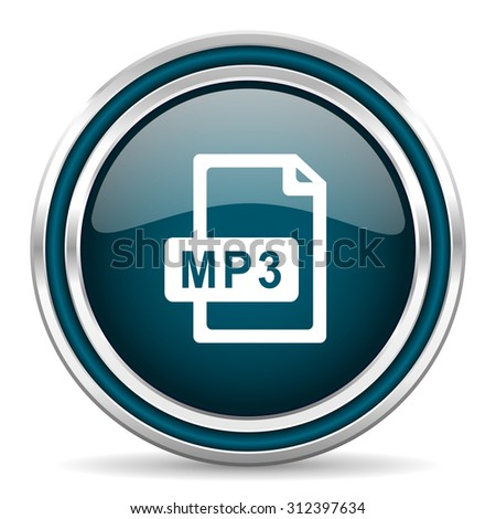 mp3 file blue glossy web icon  with double chrome border on white background with shadow    - stock photo