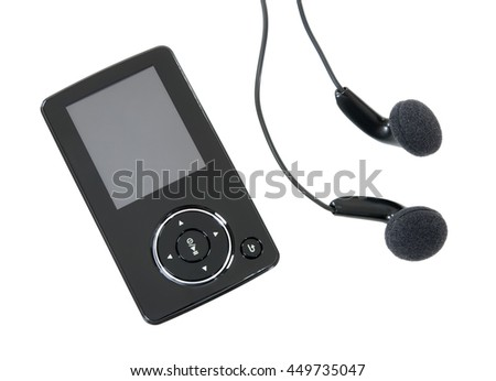 MP3 player and earphones isolated on white background.