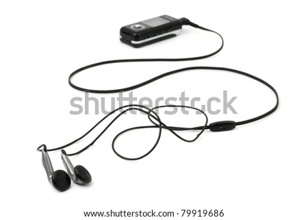 MP3 player and earphones isolated on white background - stock photo