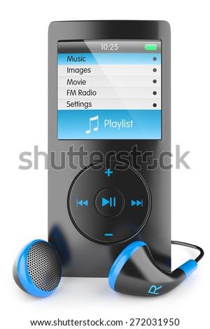 mp3 player audio musical portable headphones Walkman ipod iphone, apple isolated 3d - stock photo