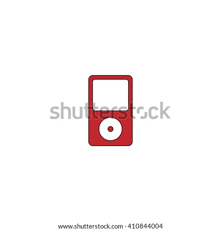 mp3 player Simple red icon on white background. Flat pictogram - stock photo