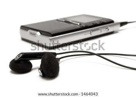 MP3 Player w/ Earphones - stock photo