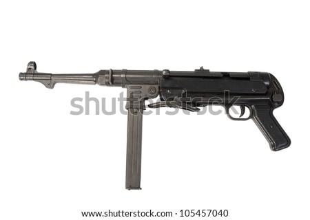 MP40 submachine gun on white background - stock photo