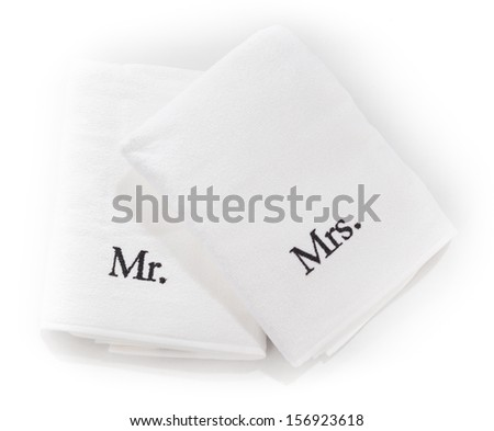Mr and Mrs white towels isolated on a white background - stock photo