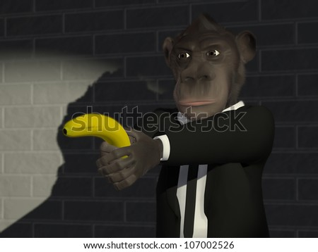 Mr.Monkey in business suit holding a banana like a pistol in his hand