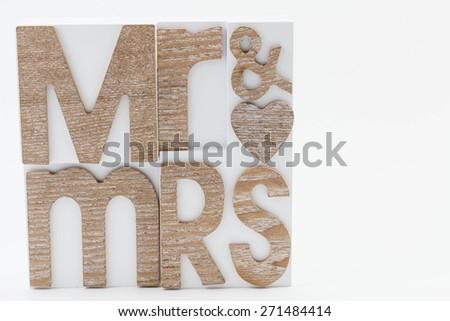 Mr & Mrs wording isolated on white - stock photo