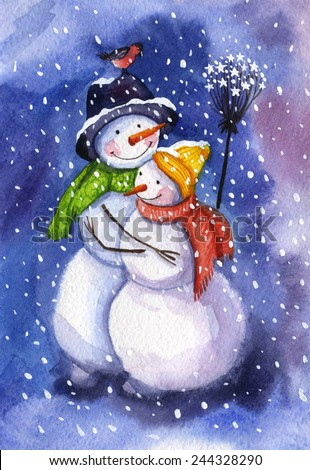 Mr. Snowman and Mrs. Snowman with polar lights in background in hugs
