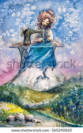 Mrs Nature as seamstress working on her new textile. Picture created with watercolors. - stock photo