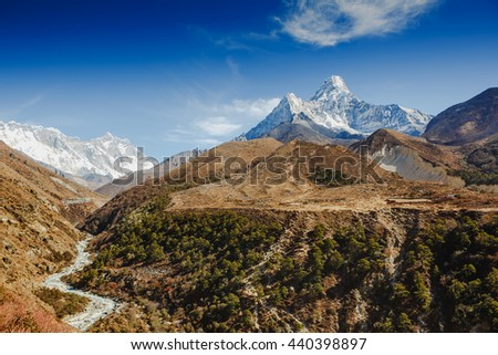 Mt. Ama Dablam in the Everest Region of the Himalayas, Nepal