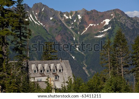 Mt. Baker Lodge Evergreens Red Snow Mountains Vista Point Mount Baker Highway Washington State Pacific Northwest