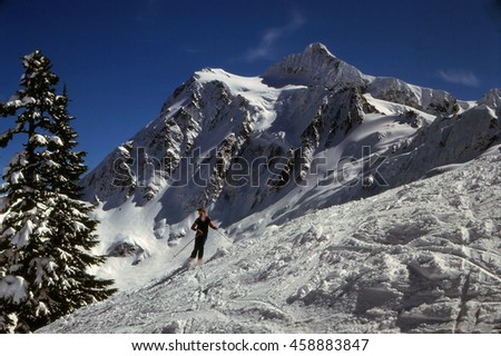 MT BAKER WASHINGTON - JAN 16, 1980 - Skier takes a run with Mt Shuksan in the background, CascadesWashington