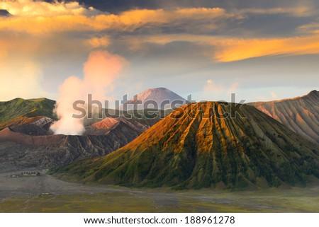 Mt.Bromo and Sumeru,Java,Indonesia - stock photo