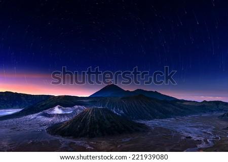 Mt. Bromo in Night Scene with Startrails, Indonesia - stock photo