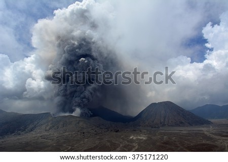 Mt. Bromo volcano  actively  erupts in east Java, Indonesia
