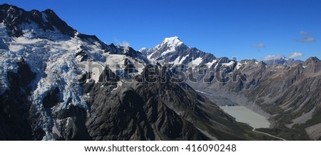 Mt Cook. Highest mountain of the Southern Alps, New Zealand. - stock photo