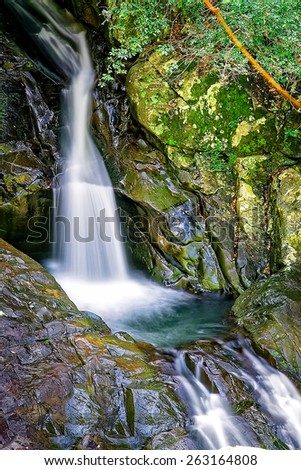 Mt. Cougal Cascade waterfall in Springbrook National Park Queensland - stock photo