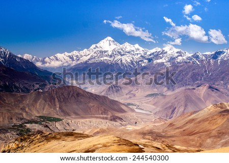 Mt. Dhaulagiri and Kali Gandaki valley, Nepal - stock photo