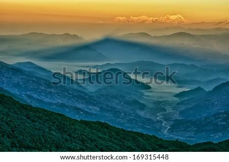 Mt. Dhaulagiri, view from Mt. Shivapuri, Shivapuri Nagarjun National Park - stock photo
